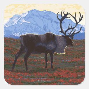 AlaskaCaribou Vintage Travel Poster Square Sticker