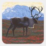 AlaskaCaribou Vintage Travel Poster Stickers