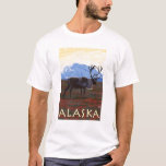 AlaskaCaribou Vintage Travel Poster T-Shirt
