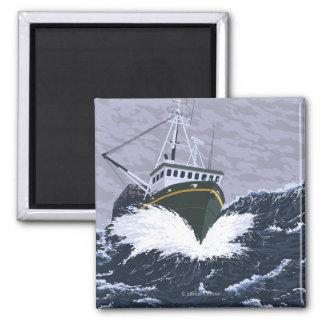 AlaskaCrab Boat Vintage Travel Poster 2 Inch Square Magnet