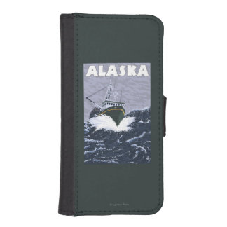 AlaskaCrab Boat Vintage Travel Poster Phone Wallets