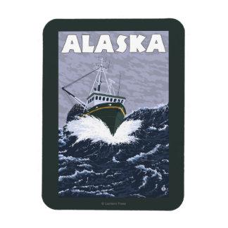 AlaskaCrab Boat Vintage Travel Poster Rectangular Photo Magnet
