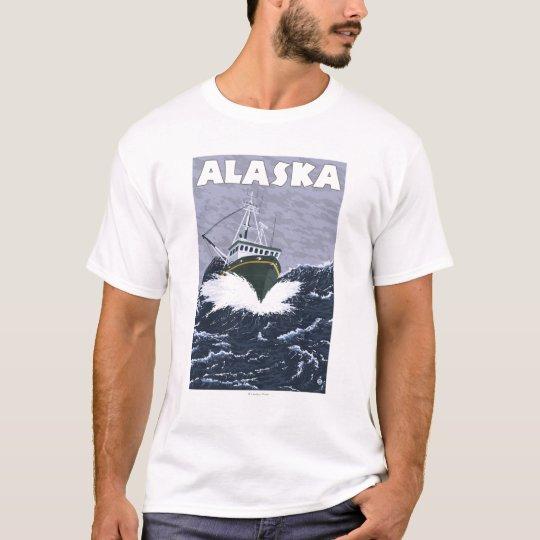 AlaskaCrab Boat Vintage Travel Poster T-Shirt