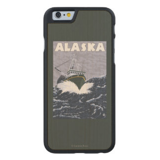 AlaskaCrab Boat Vintage Travel Poster Carved® Maple iPhone 6 Case