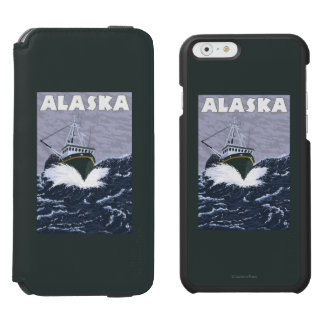 AlaskaCrab Boat Vintage Travel Poster Incipio Watson™ iPhone 6 Wallet Case