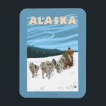 """AlaskaDogsledding Vintage Travel Poster Magnet<br><div class=""""desc"""">Alaska - Dogsledding Vintage Travel Poster was created in 2007. This image depicts scenes from Alaska.</div>"""