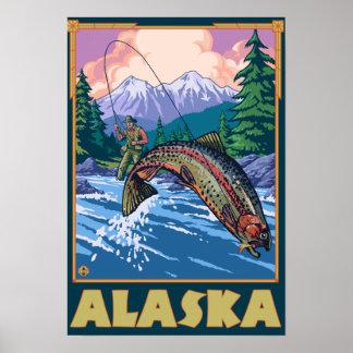 AlaskaFly Fishing Scene Poster