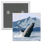 AlaskaHumpback Whale Vintage Travel Poster Button