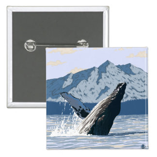 AlaskaHumpback Whale Vintage Travel Poster Pin