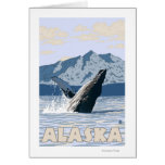 AlaskaHumpback Whale Vintage Travel Poster Card