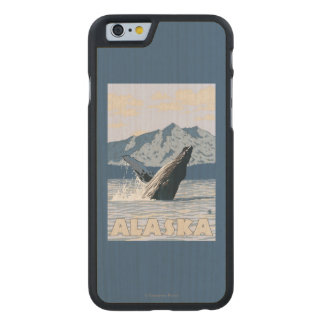 AlaskaHumpback Whale Vintage Travel Poster Carved Maple iPhone 6 Slim Case