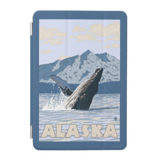 AlaskaHumpback Whale Vintage Travel Poster iPad Mini Cover