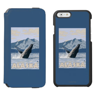 AlaskaHumpback Whale Vintage Travel Poster iPhone 6/6s Wallet Case