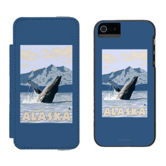 AlaskaHumpback Whale Vintage Travel Poster iPhone SE/5/5s Wallet Case