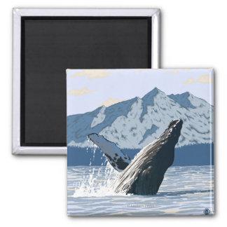 AlaskaHumpback Whale Vintage Travel Poster Fridge Magnets