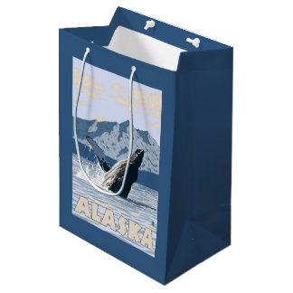 AlaskaHumpback Whale Vintage Travel Poster Medium Gift Bag
