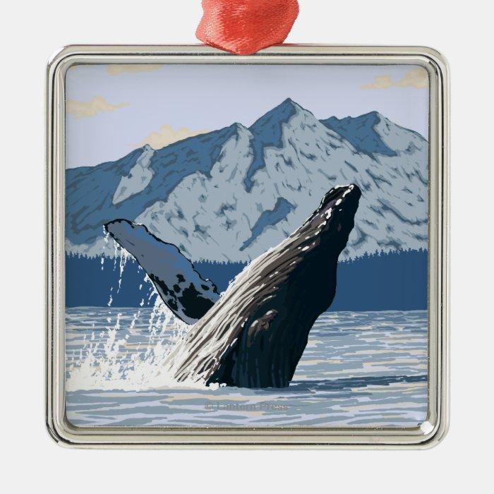 AlaskaHumpback Whale Vintage Travel Poster Metal Ornament