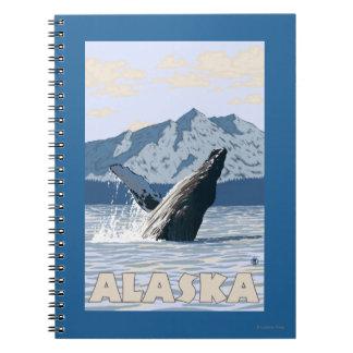 AlaskaHumpback Whale Vintage Travel Poster Spiral Notebooks