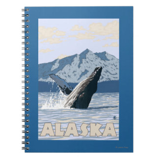 AlaskaHumpback Whale Vintage Travel Poster Note Book
