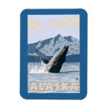 AlaskaHumpback Whale Vintage Travel Poster Flexible Magnet