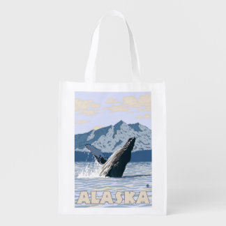 AlaskaHumpback Whale Vintage Travel Poster Reusable Grocery Bag