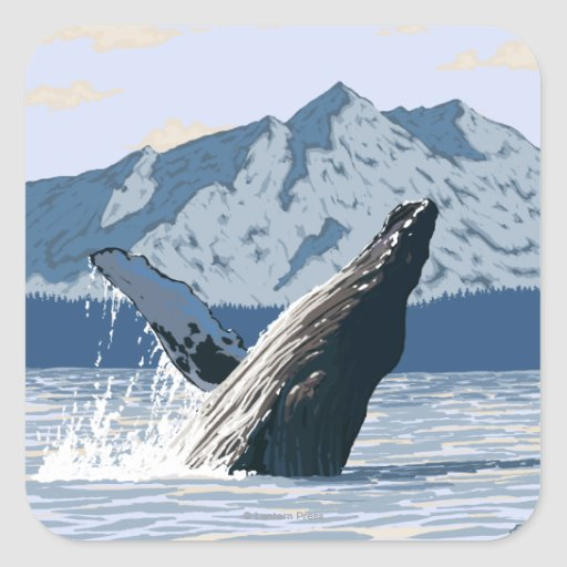 AlaskaHumpback Whale Vintage Travel Poster Square Stickers