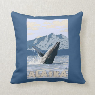 AlaskaHumpback Whale Vintage Travel Poster Throw Pillow