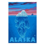 AlaskaIceberg Vintage Travel Poster