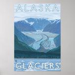 AlaskaLarge Glacier Scene Vintage Travel Posters