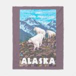 AlaskaMountain Goats Vintage Travel Poster Fleece Blanket