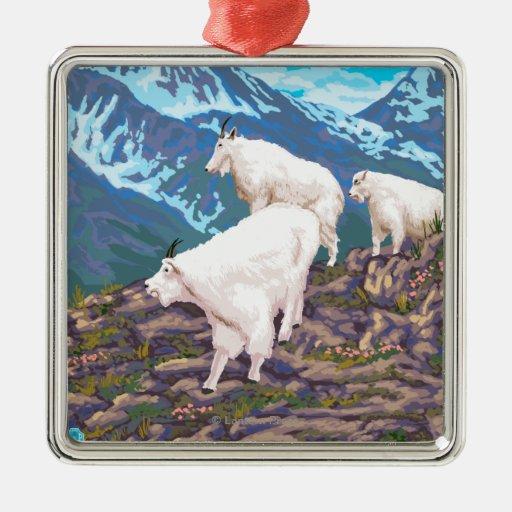 AlaskaMountain Goats Vintage Travel Poster Metal Ornament