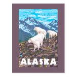 AlaskaMountain Goats Vintage Travel Poster Postcard