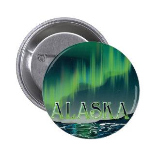 Alaskan Aurora Vintage Travel poster Button