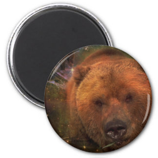 Alaskan Bear with Cubs 2 Inch Round Magnet
