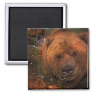 Alaskan Bear with Cubs 2 Inch Square Magnet