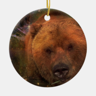 Alaskan Bear with Cubs Double-Sided Ceramic Round Christmas Ornament