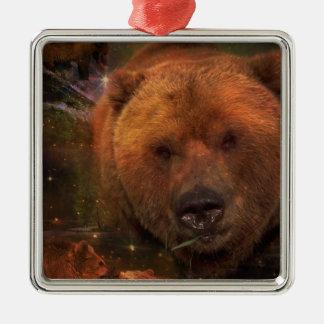 Alaskan Bear with Cubs Square Metal Christmas Ornament