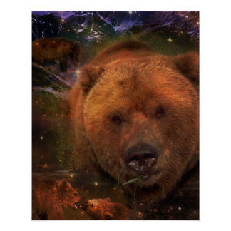 Alaskan Bear with Cubs Poster