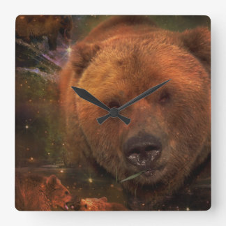 Alaskan Bear with Cubs Square Wall Clock