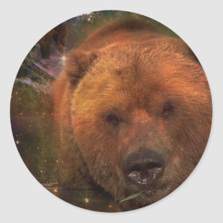 Alaskan Bear with Cubs Classic Round Sticker