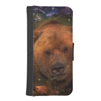 Alaskan Bear with Cubs Wallet Phone Case For iPhone SE/5/5s