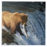 Alaskan Brown Bear Catching Salmon at Brooks Large Square Tile