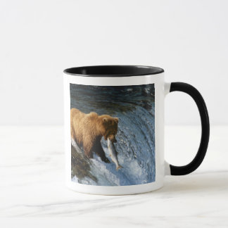 Alaskan Brown Bear Catching Salmon at Brooks Mug