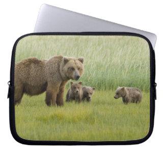 Alaskan Brown Bear Sow and three Cubs, Ursus Laptop Sleeves