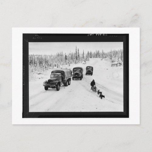 Alaskan Dogsled  Army Trucks Postcard