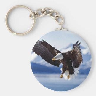 Alaskan Eagle In Flight Basic Round Button Keychain