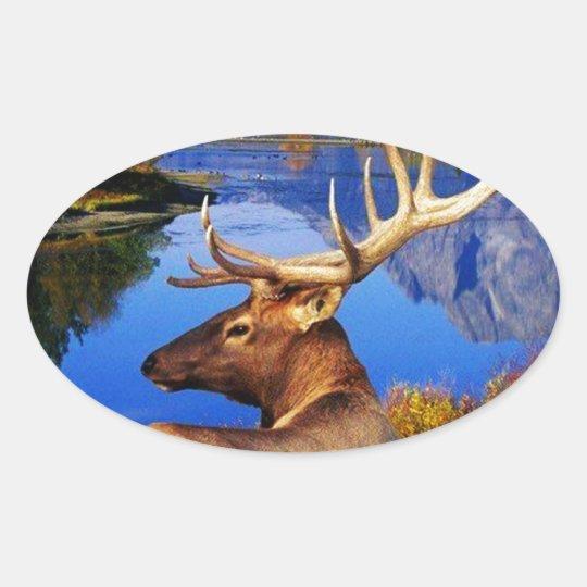 alaskan elk oval sticker