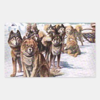 Alaskan Eskimo Dogs Rectangular Sticker