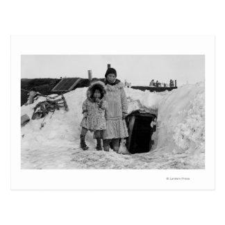 Alaskan Eskimos Outside Their Home Photograph Postcard
