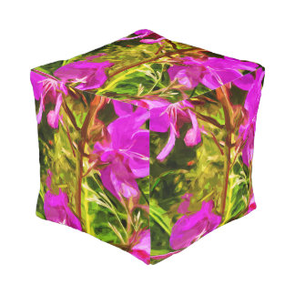 Alaskan Fireweed Pink Wildflower Abstract Pouf